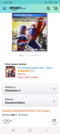 The Amazing Spiderman game on PS3/ clean condition/worth £25 on amazon