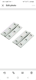 Pair Of Polished Chrome Butt Hinges 76mm x 40mm,Solid Drawn Brass Mate