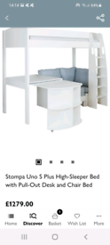 Stompa High-Sleeper Bed w/ Pull-Out Desk & Chair Bed, White/Grey & Sto