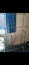 Fully adjustable double clothes rail