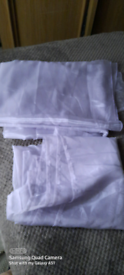 PAIR OF NET LILAC CURTAINS