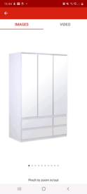Jenson gloss 3 door mirror Wardrobe only £195. Real Bargains Clearance