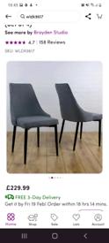 Zigler grey upholstered vanity/bedroom chair