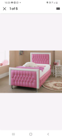 Small double pink bed