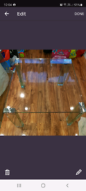 2 x all glass coffee and side table thick safety glass