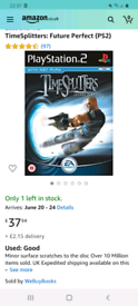 timesplitters future perfect/PS2 game/worth £37 on amazon/cash or swap