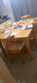 Extendable Dining table with six chairs for sale free collection from