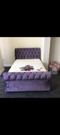 King size sleigh bed in purple crushed velvet