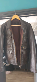 All saints leather jacket slim fit large