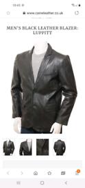 Men's Infinity Soft Leather Jacket Blazer. Black. Size Xl
