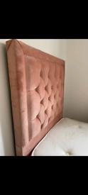 Plush velvet single bed and mattress