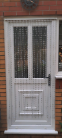 ACRYLIC BEADED DOOR CURTAIN White Silver 90cm x 180cm