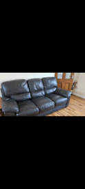 3 and 2 seater dark brown sofa settee couch