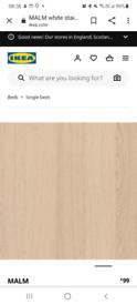 NEW malm white stained oak single bed frame -NO SLATS/MATTRESS