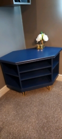 Upcycled blue corner tv unit with gold hairpin legs