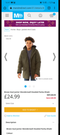 Boy's Padded Parka 9-10 years (As new)