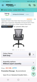 Yaheetech Black Desk Chair