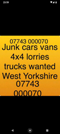 Cash for junk cars and vans in Huddersfield