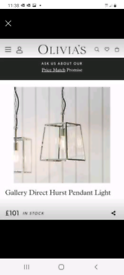 Luszo Collection Hurst chrome and glass pendant lantern ceiling light
