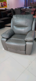 Grey Electric Recliner Armchair Real Italian leather free local delive