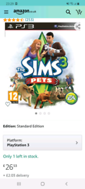 The sims 3 pets / ps3 game/worth money online / cash or swap