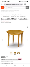 Honey pine half moon consort dining table New and assembled