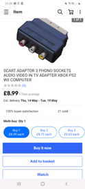 Scart to 3 Phono Sockets Adaptor / works for most game consoles
