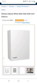 Two new Wickes Dakota white kitchen cabinet doors 500 cm wide