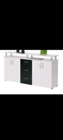 Brand New Maximo Sideboard in White & Black with four doors