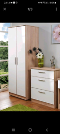 Oak and white gloss wardrobe like new