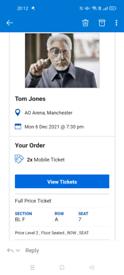 Tom Jones Tickets (Manchester) 6th December.