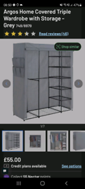 Argos Home Covered Triple Wardrobe with Storage - Grey