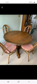 Ercol dining table and 4 swan chairs with original seats