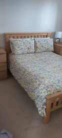 Double Bed Oak Bedframe With Two Matching Oak Bedside Cabinets