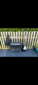 Electric guitar complete with case, straps & two amps
