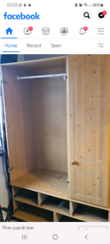 Solid pine wardrobe doors and drawers included