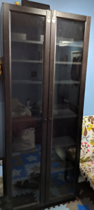 IKEA Black Billy Bookcase with glass doors