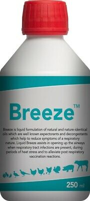 Breeze, recovery from respiratory cough colds. Chicken, poultry, pigs, pigeon