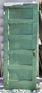 VINTAGE 5 PANEL SOLID WOODEN DOOR WITH GLASS DOOR KNOB