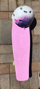 Penny board with Bell helmet