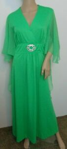 VINTAGE beautiful green dress butterfly sheer sleeves