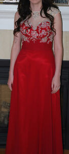 Beautiful red floor length prom dress..