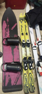 REDUCED---Snowboard, skis and ski boots