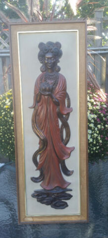 Vintage Repousse 3D Relief Framed Asian Goddess Panel