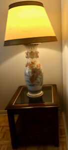 LARGE HAND-DECORATED CHINESE LAMP