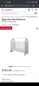 Baby Cot with Mattress - New/Damaged