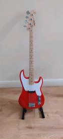 Harley Benton PB -50FR Vintage Series Bass Guitar and stand