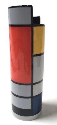Mondrian Red Blue Yellow Modern Art Ceramic Flower Vase 9.8H SDA26 Parastone