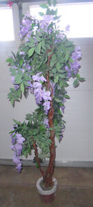 6ft faux tree with purple flowers