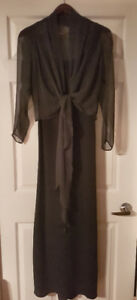 Lowon Pope long black dress with charcoal grey sheer wrap